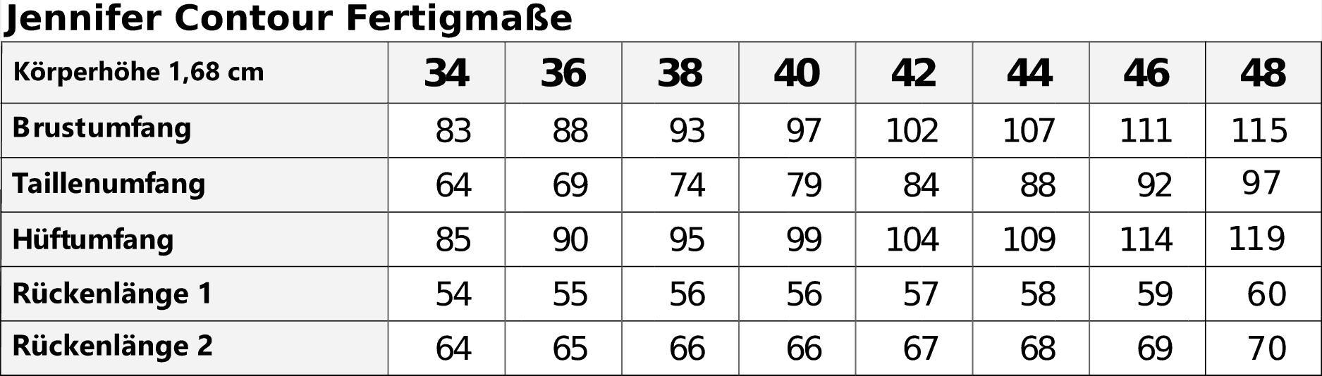 Jennifer Contour Shirt Ebook Größe 34-48 - TINAlisa